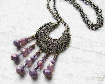 AMETHYST MOON .:. Bohemian Moon Vintage Brass necklace with picasso czech glass, ornate filigree crescent moon, long chain, purple, boho