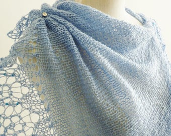 """Handmade Shawl """"Snow Queen"""", knitted in wool blue"""