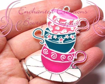 "2"" Topsy Turvy Teacups Chunky Jewelry Pendant, Planner Charm, Keychain, Bookmark, Zipper Pull, Purse Charm, Planner Charm"
