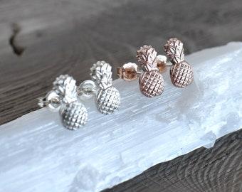 Pineapple Studs, Pineapple Earrings, Pineapple posts, Rose gold stud earrings, 925 sterling silver posts, Rose Gold pineapple, minimalist