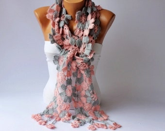 Crochet scarf long scarf ,woman scarf, gift,pink and gray