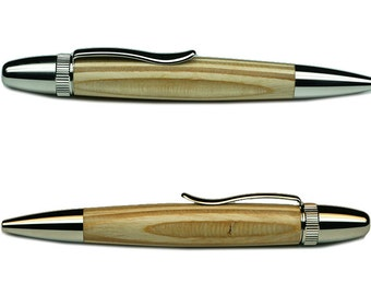 Light Brown Laminated Plywood on Platinum Atlas Ballpoint Pen