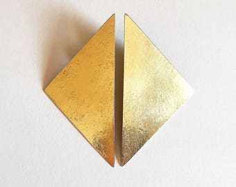 Geometric earrings, Triangular earrings, Stud minimalist earrings, Triangle brass earrings, Stud earrings, Golden earrings, fashion earrings