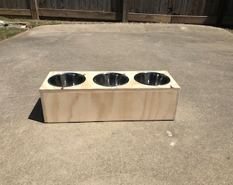 Small 3 Bowl Dog Feeder - 2 or 3 dogs