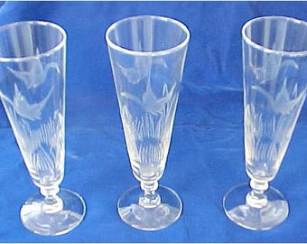 Etched Crystal Pilsners