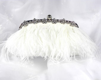 White Ostrich Feather Bridal Clutch Vintage Inspired Wedding Clutch Purse Evening Bag