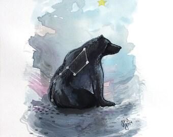 Ursa Major - bear big dipper print of original watercolor illustration 9x12 or 18x24 inches choose size
