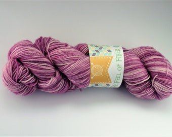 "Hand-dyed 80/20 Superwash Merino/Nylon ""Pinky-Purple"""