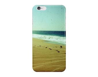 Beach Bliss - Footprints (in the sand, photo iPhone case / skin, Samsung Galaxy case / skin, summer green ocean waves beach photography)