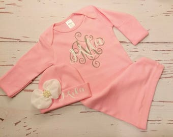 Baby girl coming home outfit, Personalized, baby gown, monogram, name, infant, gown, bring home outfit, hospital gown, take home outfit, set