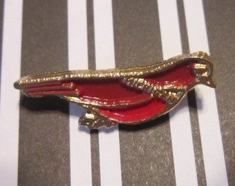 Vintage Red and Gold Bird Brooch