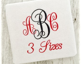 Fancy Monogram Embroidery Fonts BX Machine DST Vine PES - Embroidery Monogram Fonts - 3 Sizes - Instant Download