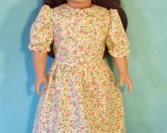 1800's  18 inch Doll Historical Calico Dress & Lace Up Shoes