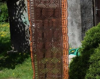 Vintage Handmade chestnut brown orange table runner window valance Cottage farmhouse crocheted runner Window boho decor eco friendly
