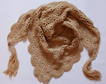 Crochet beige cotton light shawl / spring shawl / autumn shawl