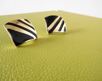 Vintage 1980s Black and gold earrings Minimalist Jewelry 1980s jewelry Sculptural Square Geometric Wearable art Statement earrings