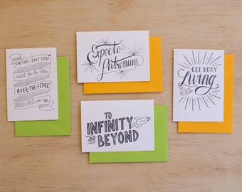 Movie Quotes Letterpress Cards // Set of 4 // Expecto Patronum, To Infinity And Beyond, Get Busy Living, Can't Eat-Can't Sleep