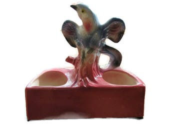 Ceramic Planter, Blue Bird, Pink Dish, USA Pottery, Maddux of California, Succulent Planter, Kitsch, Bird Lover