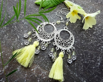 Primrose, boho dangles with primrose yellow tassles and pale yellow glass beads, silver finish findings, clips available