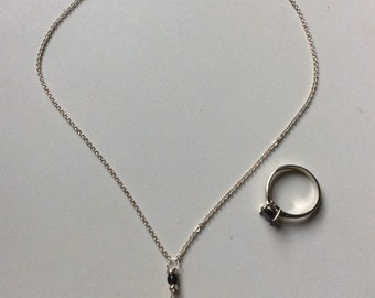 Iolite and Sterling Silver Necklace and Ring