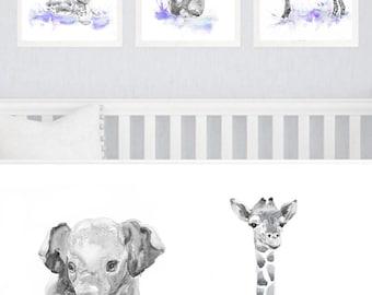 Neutral Nursery Decor, Set of 3 prints, Baby Animals Nursery, Watercolor Painting, Safari Wall Art Watercolour Print Purple Gift Gray
