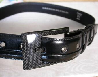 Carbon Buckle Leather Belt