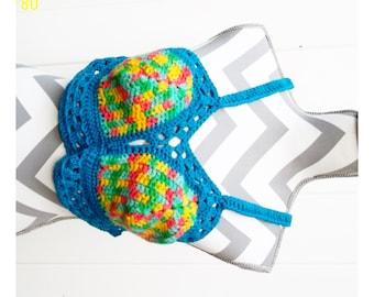 Rainbow and Blue Cotton Halter Top OOAK Crochet Festival Fashion Medium C Cup Festie Fairie Pixie Crocheted Knit Knitted Bikini Boho Hippie