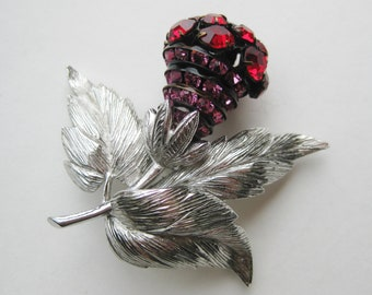 Vintage Castlecliff Silver Jeweled Scottish Thistle Red Rhinestone Brooch Pin