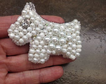 Black or White terrier / Beaded brooch / Designer brooches / Brooch to order / Handmade / Pin of the pisser / Original Jewelry / Exclusive