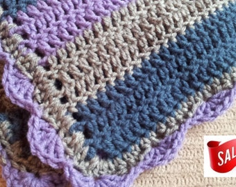 Stroller Blanket, Striped Baby, Lavender, Heather and Windsor Blue, Lap Blanket, Throw, Ready to Ship