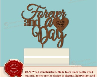 Forever and a Day - Wooden Personalised Cake Topper. Vintage Weddings