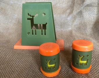 Vintage 1960s avocado and orange St Labre Indian (Native American) School napkin holder and salt and pepper