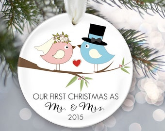 Our First Christmas as Mr & Mrs Personalized Christmas Ornament Bridal Shower Gift Bride and Groom Love Birds Christmas Gift OR279