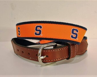 University of Syracuse  Men's  Web Leather Belt