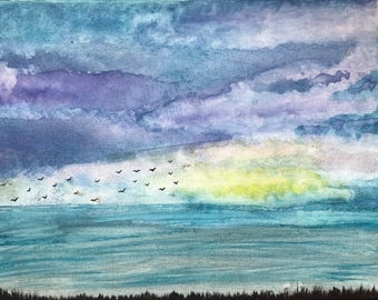 Original Watercolor - Blue World