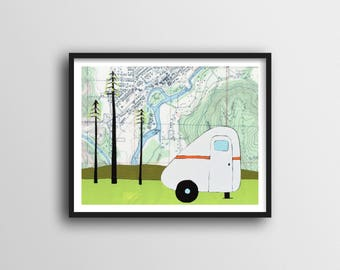 Scamp Trailer Print with Map Art and Camper Art // Washington Art Print 11x14