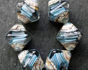 Lampwork Crystals (6) Encased Ocean Wave Navy