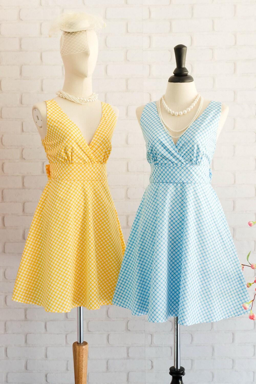 Yellow party Dress Blue Dress Yellow Blue Plaid Dress Yellow