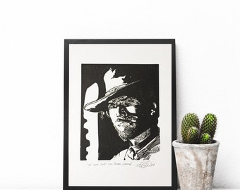 Clint Eastwood Print The Good The Bad and The Ugly Cowboy Linocut Artwork