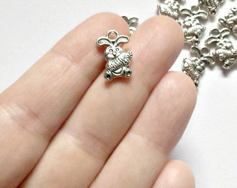 10  Bunny Charms - Rabbit Pendants - Easter Charms - Double Sided - #S0241