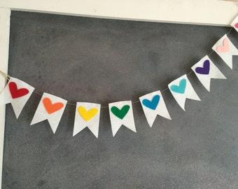 Rainbow Banner, Rainbow, Rainbow Garland, Rainbow Hearts, Heart, Heart Garland, Heart Banner, Rainbows,Flag Banner, Felt Banner, Garland