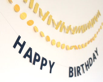 Mini Banner Set - Happy Birthday Mini Garlands with Confetti - Mustard Yellow and Navy Blue