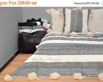 ON SALE 20% Moroccan Pom Pom Blanket Handwoven by Artisans in Morocco on Traditional Wooden Looms, from 100 Percent Wool, #MW004