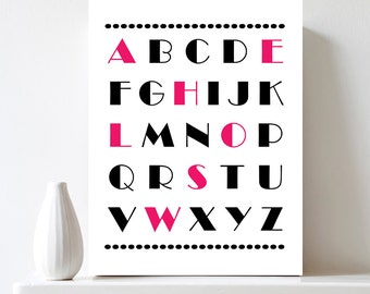 Modern Alphabet Letters Nursery Wall Art Educational Poster Printable Pink & Black Letters ABC Art Wall Decor Baby Gift DIY Digital Download