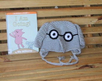 Made to Order crochet Gerald hat, Elephant, Mo Willems, Piggie and Gerald Size Child