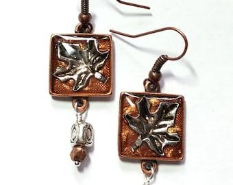 Maple Leaf Copper Square Earrings