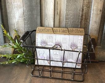 Recipe Box, Metal Basket, Metal Recipe Box, Rustic, Vintage, Farmhouse, Lavender, Shabby White Chair, Polka Dots