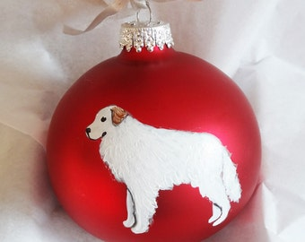Great Pyrenees Dog Hand Painted Christmas Ornament - Can Be Personalized with Name