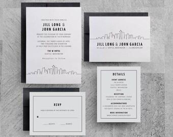 Seattle Wedding Invitation, Seattle Invitation, Seattle Theme, Seattle Save the Date, Seattle Party, Seattle Menu, Seattle Table Numbers