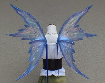 Custom X Large size Blue Iridescent 4 Wing Tattered Faerie Wings with dark blue glitter